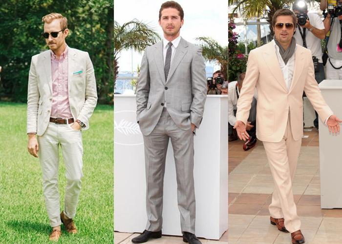 você pode no casamento durante o dia usar camisa estampada, mas se não tem segurança, continue na velha e sempre sem erro camisa branca. O terno do meio é uma excelente opção. Se você for ousado e moderno, pode arriscar no terno de cor pessego e na echarpe, mas lembre-se que no Brad Pitt, deu certo, em você poderá não...